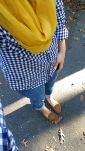 Gingham button-down shirt, mustard scarf, moccasins